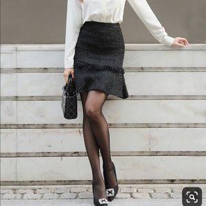 GAP black tweed high waist flared skirt